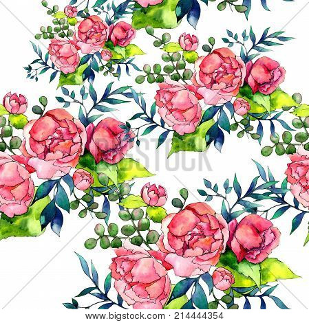 Wildflower bouquet pattern in a watercolor style. Full name of the plant: peony. Aquarelle wild flower for background, texture, wrapper pattern, frame or border. poster
