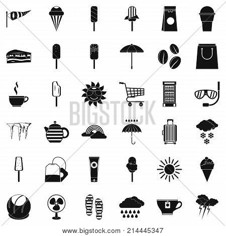 Teabag icons set. Simple style of 36 teabag vector icons for web isolated on white background