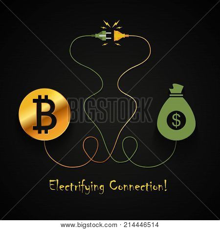 Bitcoin and dollar electrifying connection background design