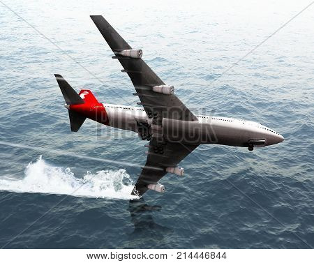 3D render of a passenger jumbo airplane crashing into the ocean.