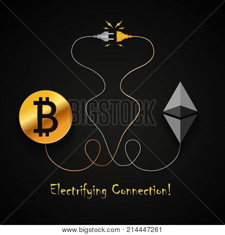 Bitcoin and ethereum electrifying connection background design
