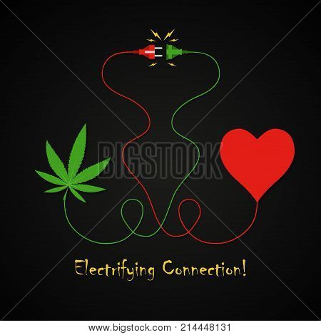 Cannabis leaf and human heart electrifying connection background