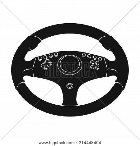 Game steering wheel single icon in black style for design.Car maintenance station vector symbol stock  illustration.