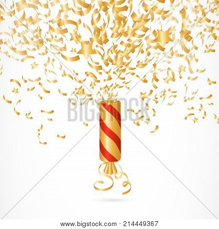 Illustration of Christmas cracker. Celebrating, entertainment, noise. Holiday concept. Can be used for topics like New Year, Christmas, holiday