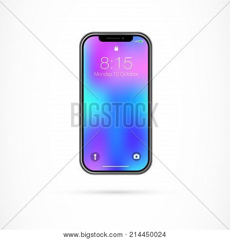 Illustration of smartphone display. Full screen display,  smartphone, trend. Mobile technology concept. Can be used for topics like new technology, smart electronics, infinity display