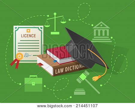 Lawyers licence, books on law and academic hat vector illustrations. Old scales, judges hammer, ancient building and classic briefcase silhouettes.