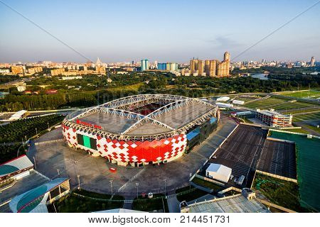 Moscow, Russia - August 20, 2017: Aerial view of Spartak Stadium (Otkritie Arena). Spartak Stadium has been selected for the 2018 FIFA World Cup.