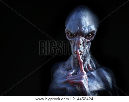Portrait of an alien creature hushing with its finger on its lips like he is silencing you 3D rendering. Black background.