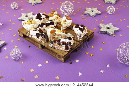 Traditional Italian Festive Torrone Or Nougat.