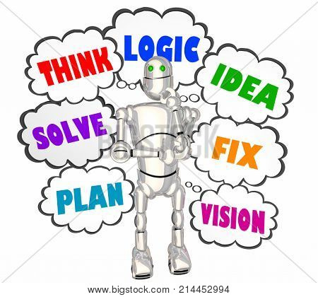 Think Logic Idea Robot Thought Clouds 3d Illustration