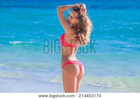 Beautiful young woman in sexy bikini standing at sea beach