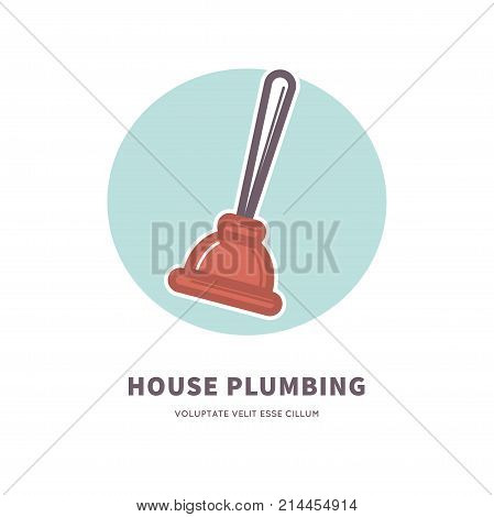 House plumbing service advertisement logo with rubber plunger that has wooden handle inside blue circle isolated vector illustration on white background. Elimination of blockages commercial poster.