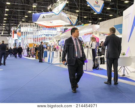 St. Petersburg, Russia - 3 October, People at the gas forum, 3 October, 2017. Participants and visitors of the annual St. Petersburg Gas Forum.