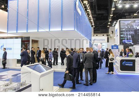 St. Petersburg, Russia - 3 October, Crowd of visitors on the forum, 3 October, 2017. Participants and visitors of the annual St. Petersburg Gas Forum.