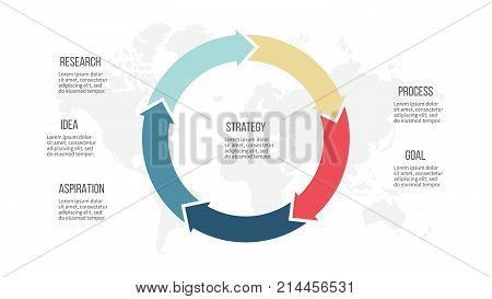 Business infographics. Pie chart with 5 arrows. Vector template.
