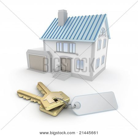 House and the keys with an empty thumb