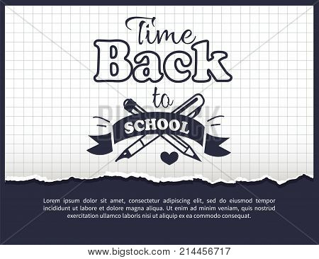 Back to school time black-and-white sticker with inscription. Vector illustration of crossed fountain pen and graphite pencil on checkered background
