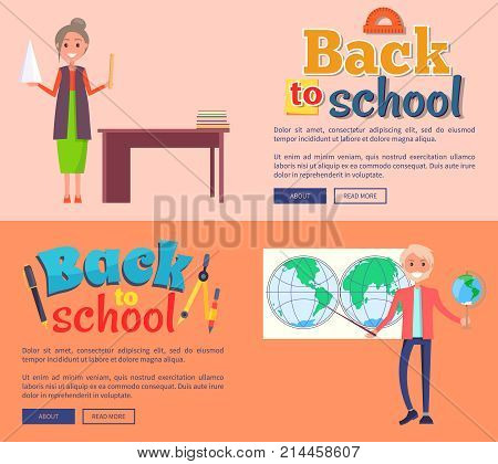 Back to school web banners with teacher standing near blackboard and professor of geography holding globe behind international map vector