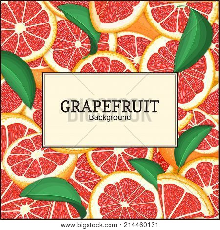 square label on citrus grapefruit background. Vector card illustration. Tropical fresh and juicy red pomelo frame peeled piece of half slice for design of food packaging juice breakfast tea diet juce