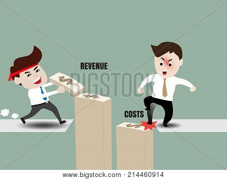 Growth of business concepts, business people are increasing revenue and reduce costs. Flat design vector cartoon illustration