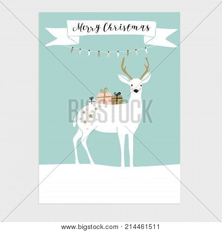 Cute Christmas greeting card, invitation with reindeer and gift boxes. Hand drawn design, vector illustration background.