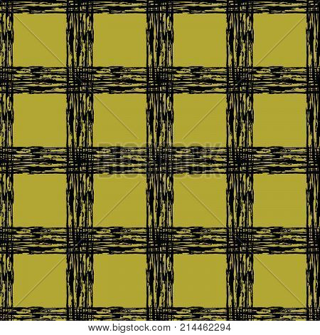 Scottish classic black and yellow tartan fabric. Hand drawn seamless square pattern.