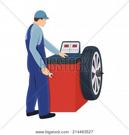 Wheel balancer single icon in cartoon style for design.Car maintenance station vector symbol stock illustration .