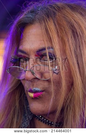 Photograph of a drag queen taken at the lesbian and transgender gay pride march in the city of buenos airs in November 2017