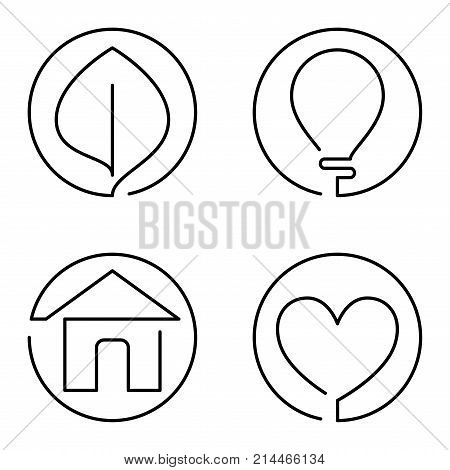 Set Of Continuous Bold Line Logo On White Background