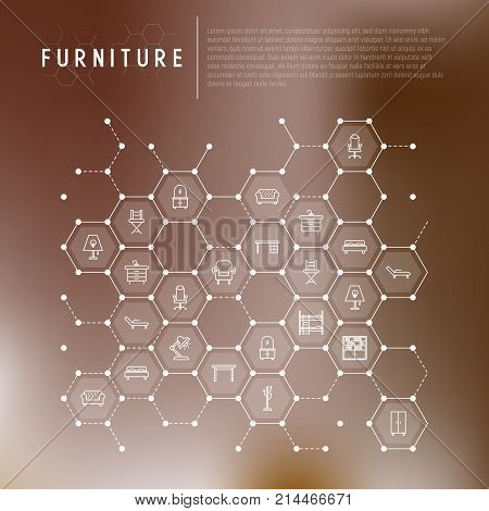 Furniture concept in honeycombs with thin line icons of coach, bookcase, bed,  dresser, chair, lamp, floor hanger. Modern vector illustration for banner, web page, print media.