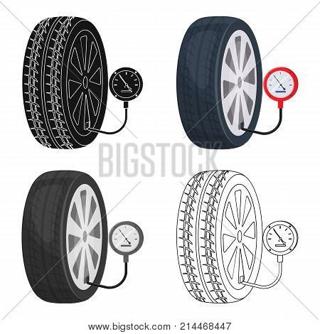 Wheel and manometer single icon in cartoon, outline, black style for design.Car maintenance station vector symbol stock illustration .