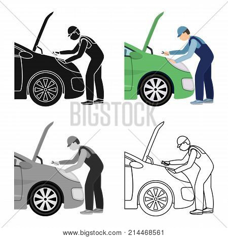 Auto mechanic and adjustment single icon in cartoon, outline, black style for design.Car maintenance station vector symbol stock illustration .