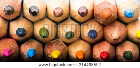 Colored Pencils Background. Assortment Of Colored Pencils, Colored Drawing Pencils