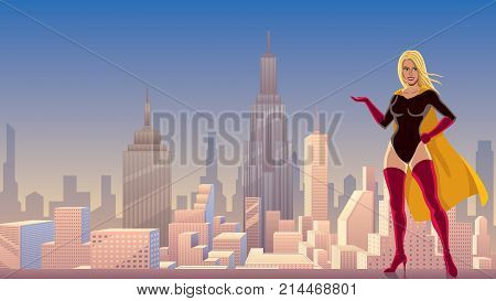 Illustration of smiling superheroine presenting your text or product with cityscape as background.