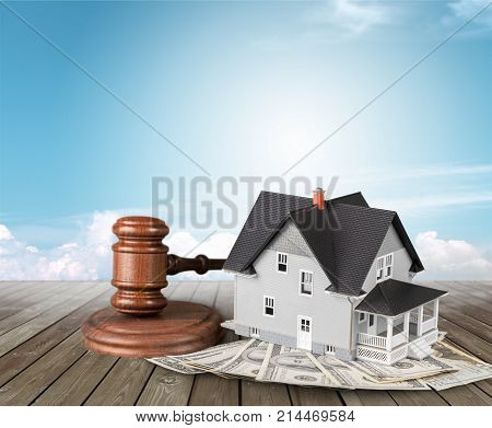 Wooden house hammer judge objects background brown