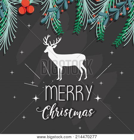 merry christmas decoration style to celebration vector illustration