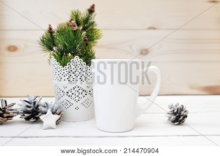 Christmas mock up styled stock product image white cup, Christmas scene with a white blank coffee mug that you can overlay your custom design or quote on to.