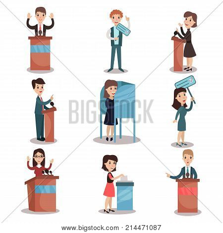 Elections and voting set, political candidates and voting process vector Illustrations on a white background