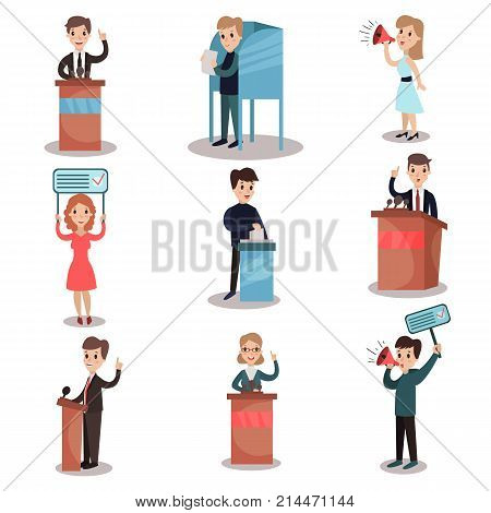 Elections and voting set, political candidates and people taking part in voting vector Illustrations on a white background