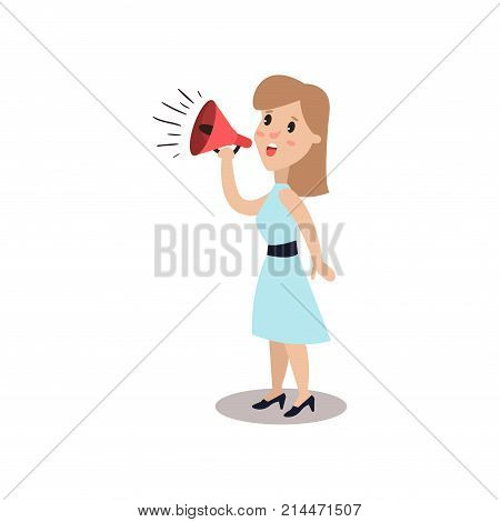 Man character shouting through loud speaker, political agitation campaign vector Illustration isolated on a white background