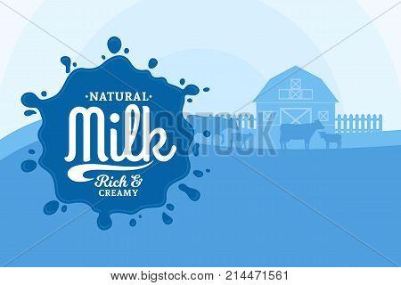 Vector milk illustration with milk splash rural landscape with cows calves and farm