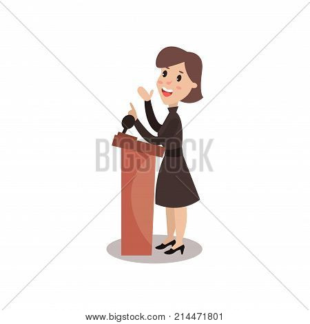 Female politician character standing behind rostrum and giving a speech, public speaker, political debates vector Illustration isolated on a white background