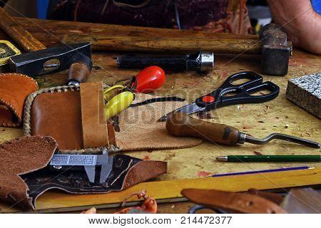 Leathercraft Working Tools On Workshop Desk