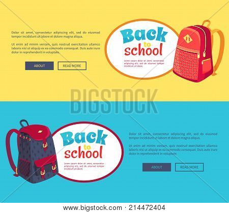 Back to school posters set with fashionable model of kids backpack in dark blue and red colors with metal fasteners and pockets vector illustrations isolated