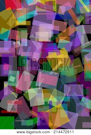 Abstract background with variegated overlaping semitransparent squares on black area usefuul for book cover wrapping paper. textile design. Polygonal patterns. Vector EPS 10