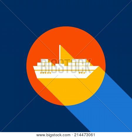 Ship sign illustration. Vector. White icon on tangelo circle with infinite shadow of light at cool black background. Selective yellow and bright navy blue are produced. poster