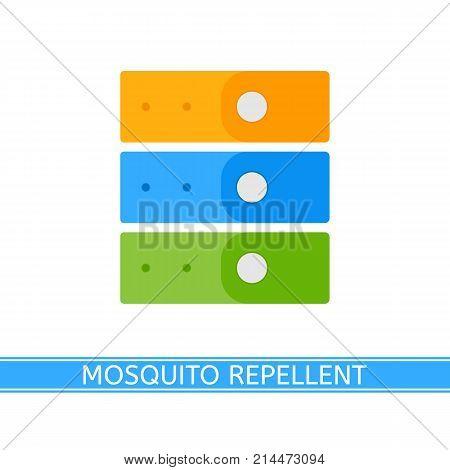 Vector illustration of mosquito repellent bracelets isolated on white background, in flat style. Outdoors protection, repelling flying insects.