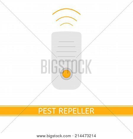 Vector illustration of ultrasonic mosquito repeller isolated on white background in flat style. Pest control gadget