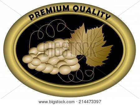 Luxurious wine etiquette premium quality. Golden grape with leaf in oval shape. Luxury product label, vector EPS 10