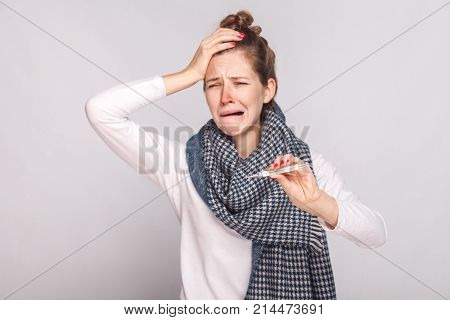 Unwell Sick Woman Have Temperature, Holding Head And Cry.